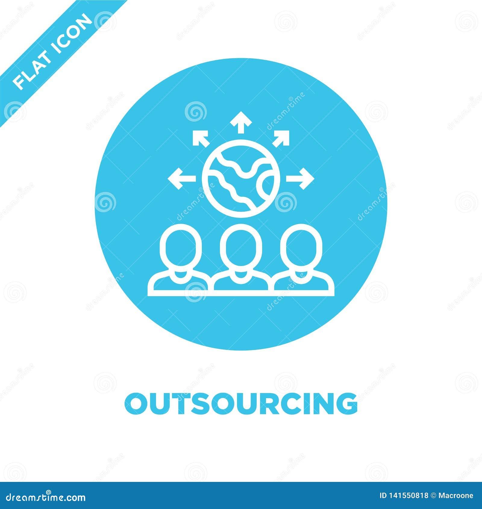 Auslagerungsikonenvektor Dünne Linie Outsourcingentwurfsikonen-Vektorillustration Auslagerungssymbol für Gebrauch auf Netz und mo