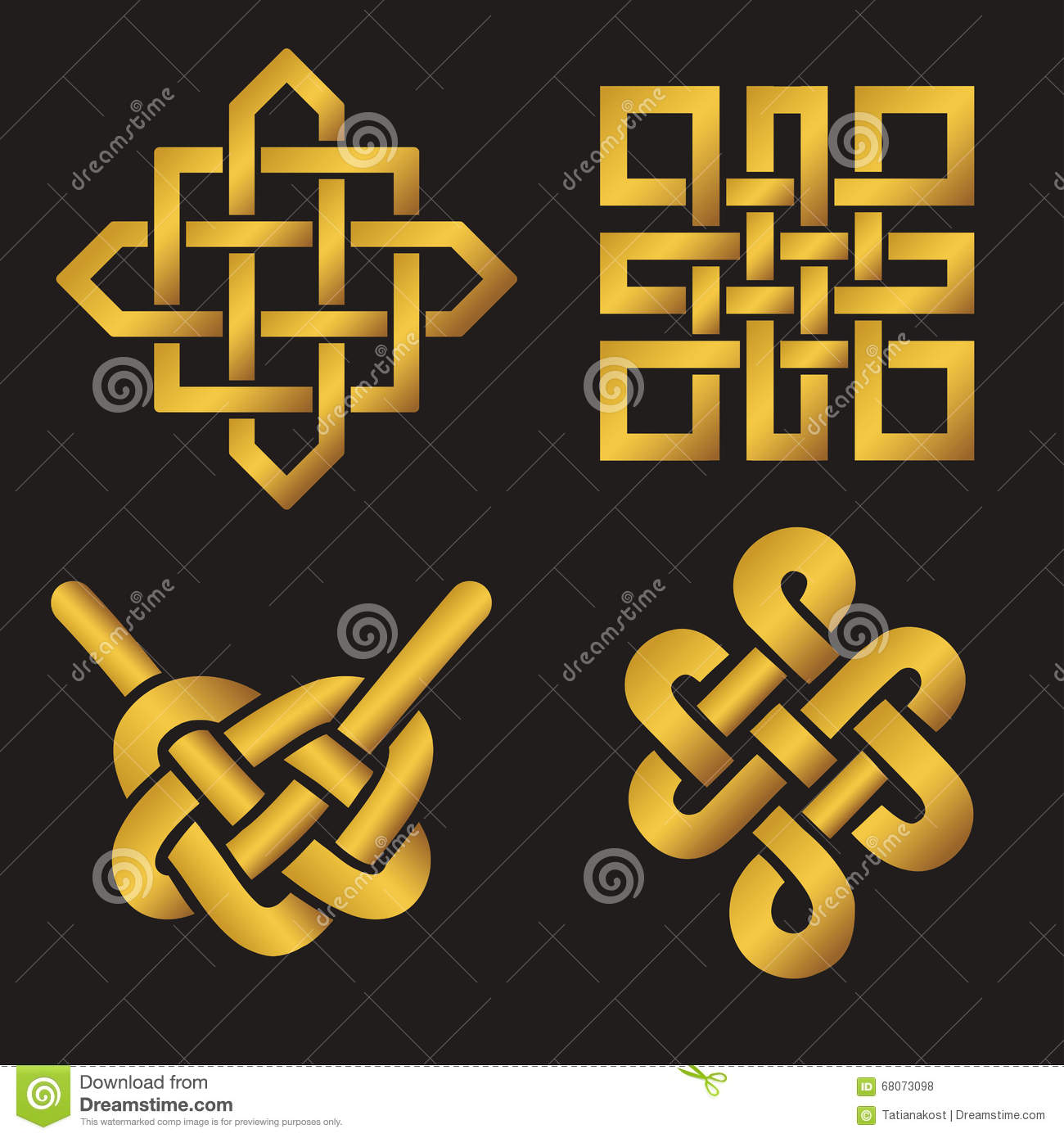 auspicious endless knots setbuddhist symbolgold stock