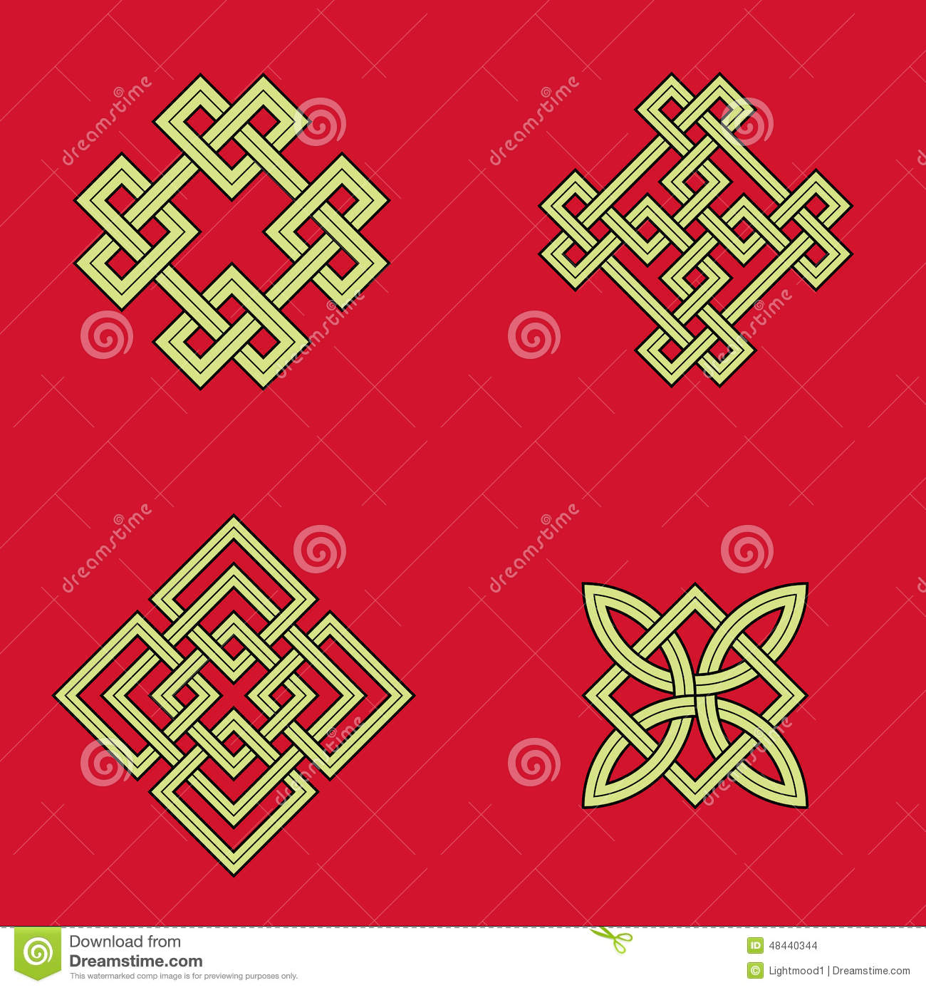 Auspicious Knots Stock Vector Illustration Of Asia Cross 48440344
