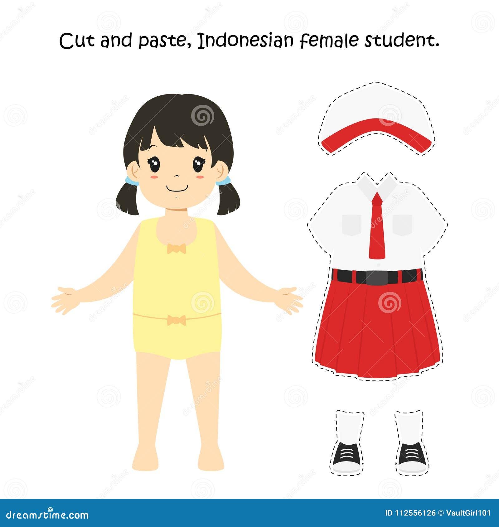Ausschneiden Und Einfügen, Indonesische Studentin Uniform Vector ...