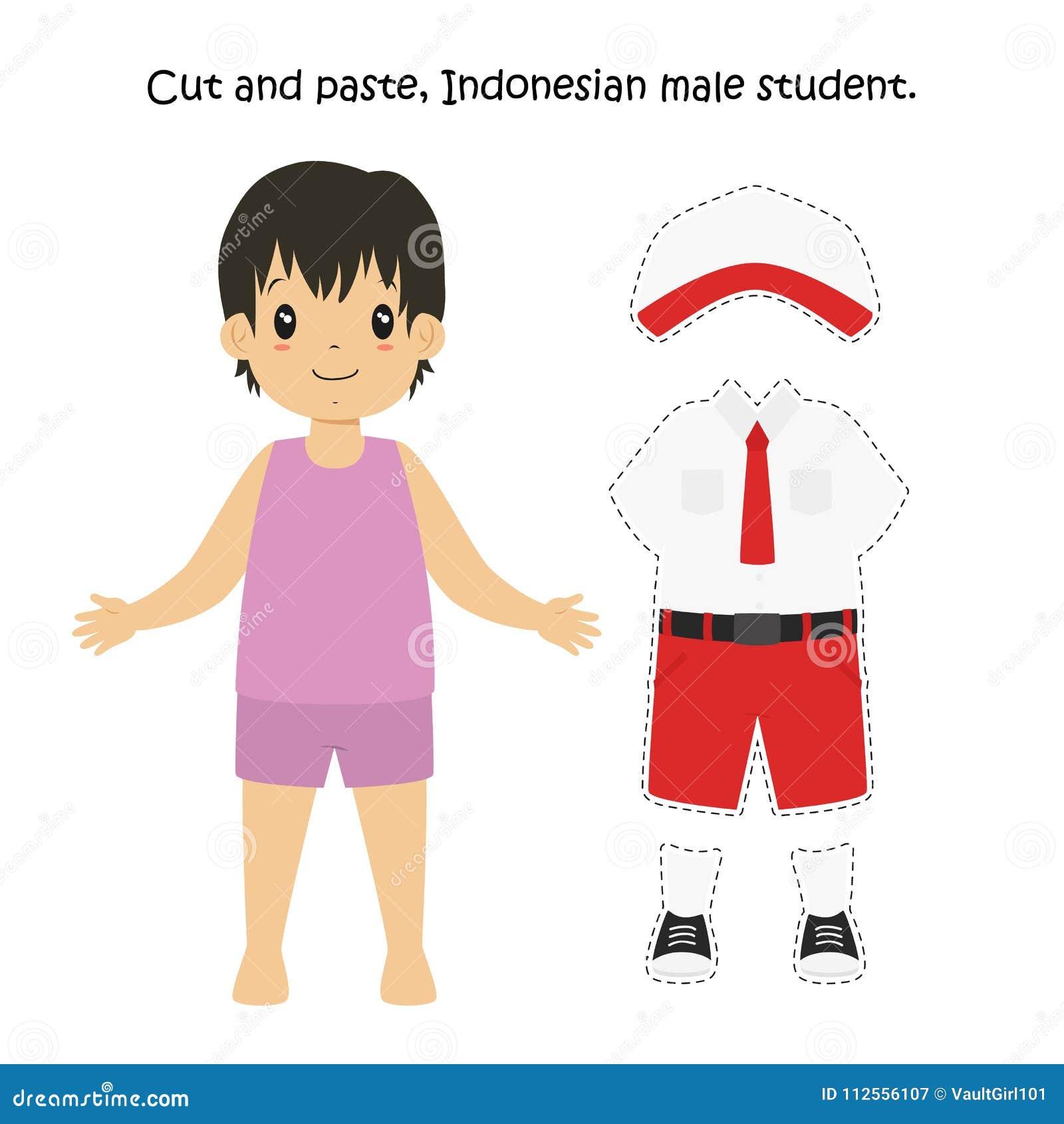 Ausschneiden Und Einfügen, Indonesischer Männlicher Student Uniform ...