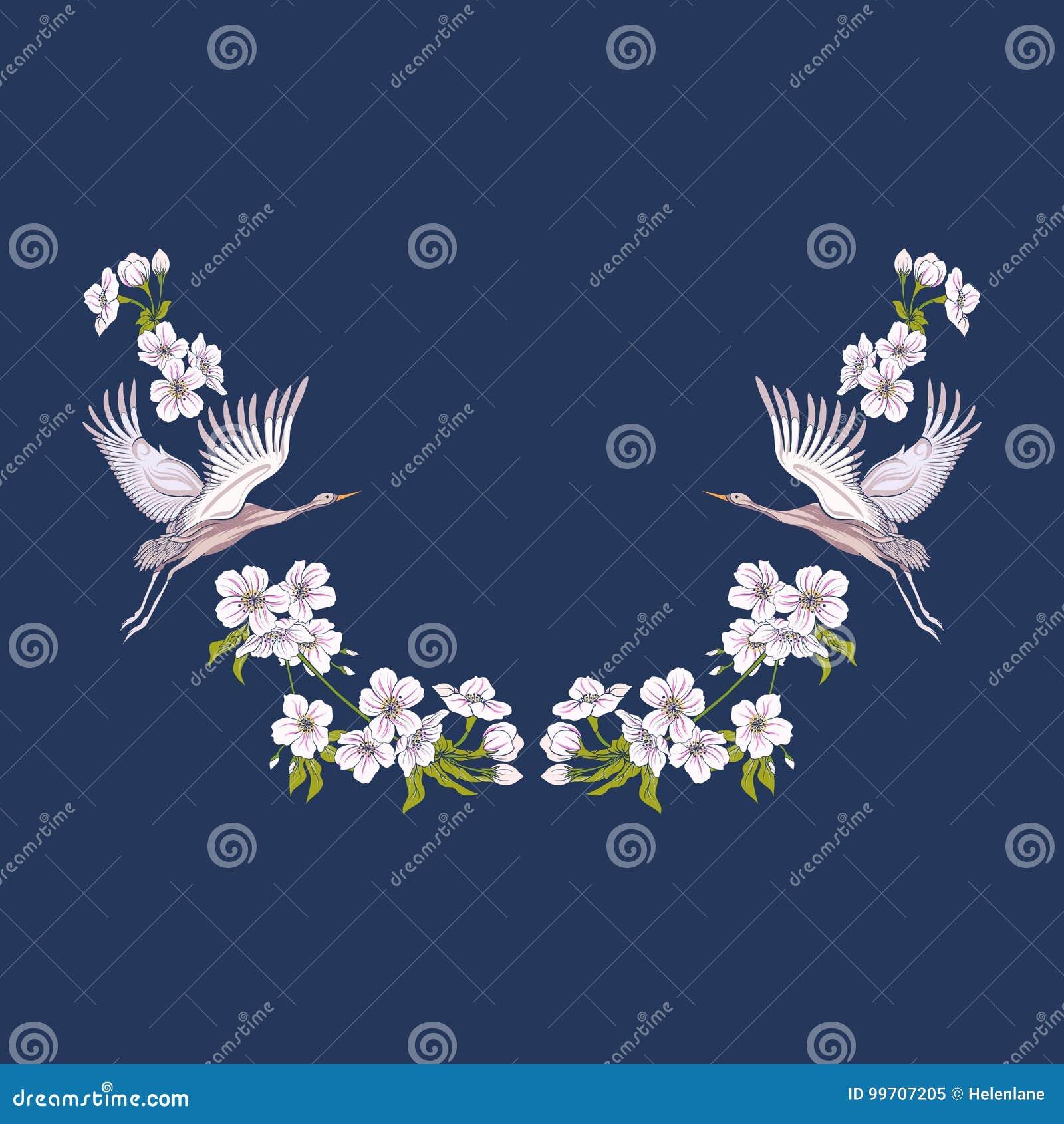 Ausschnitt mit Blumen und Kran auf schwarzem Hintergrund Linie auf Lager