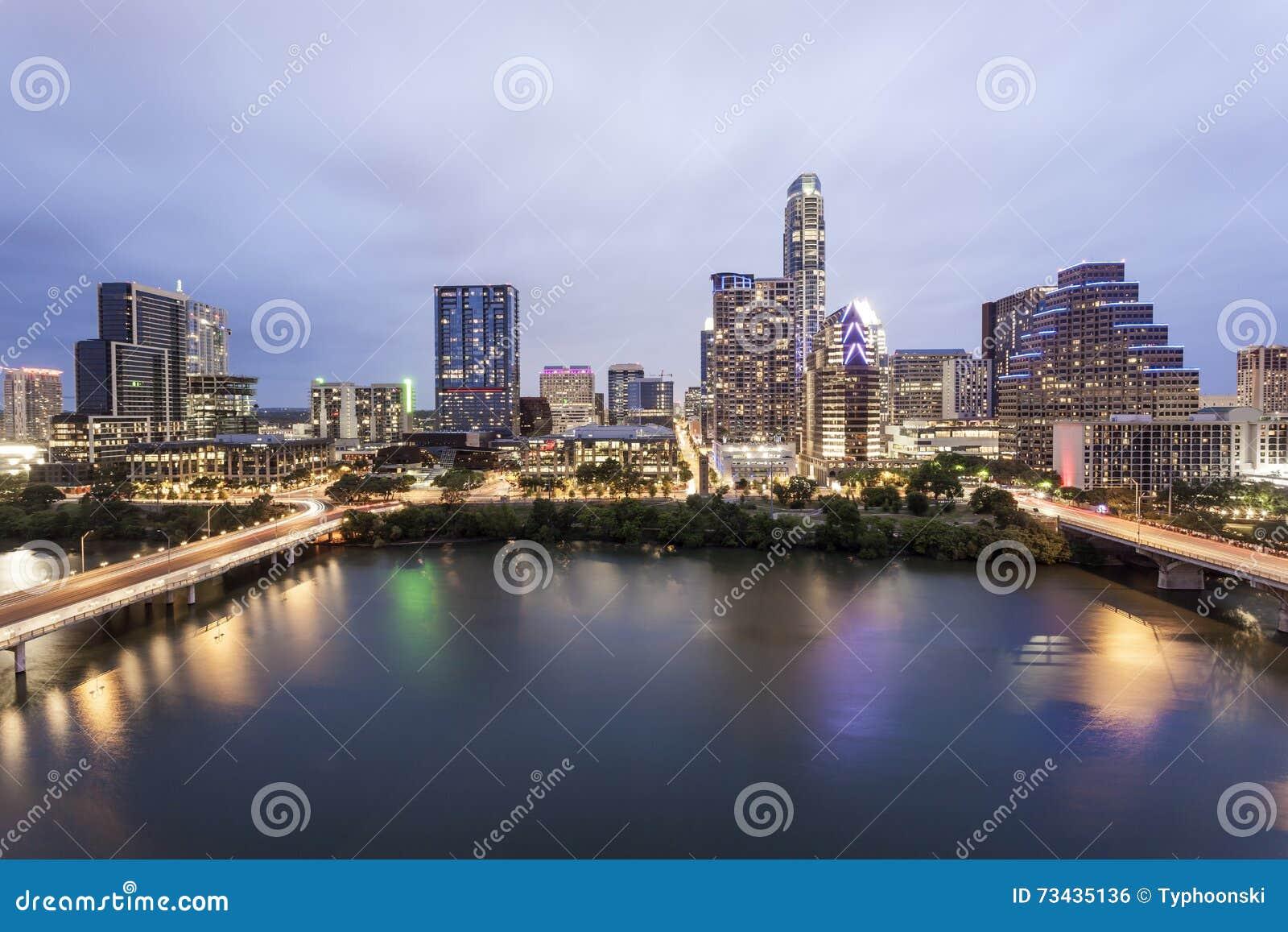 Austin Downtown bij nacht Tx, Verenigde Staten