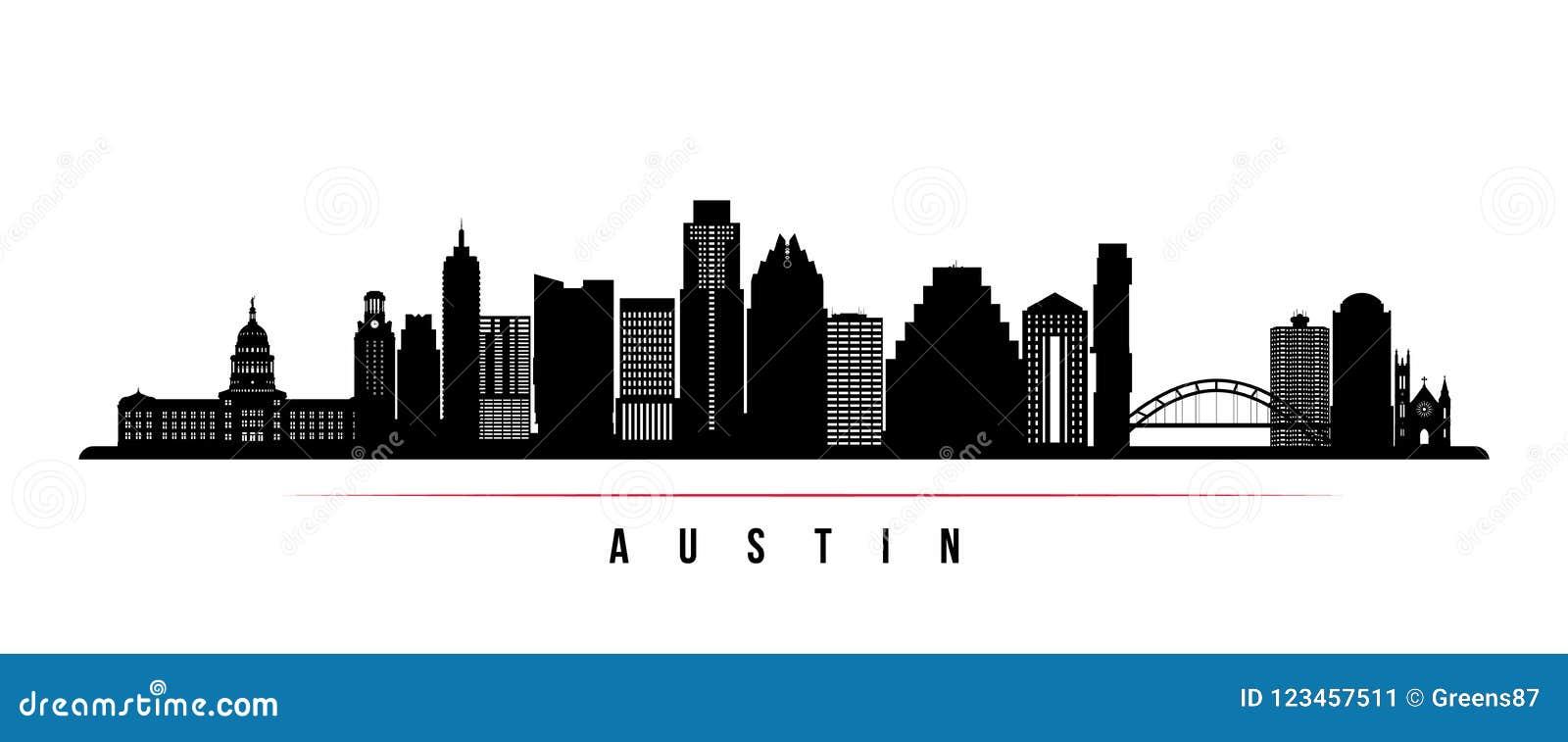Austin miasta linii horyzontu horyzontalny sztandar