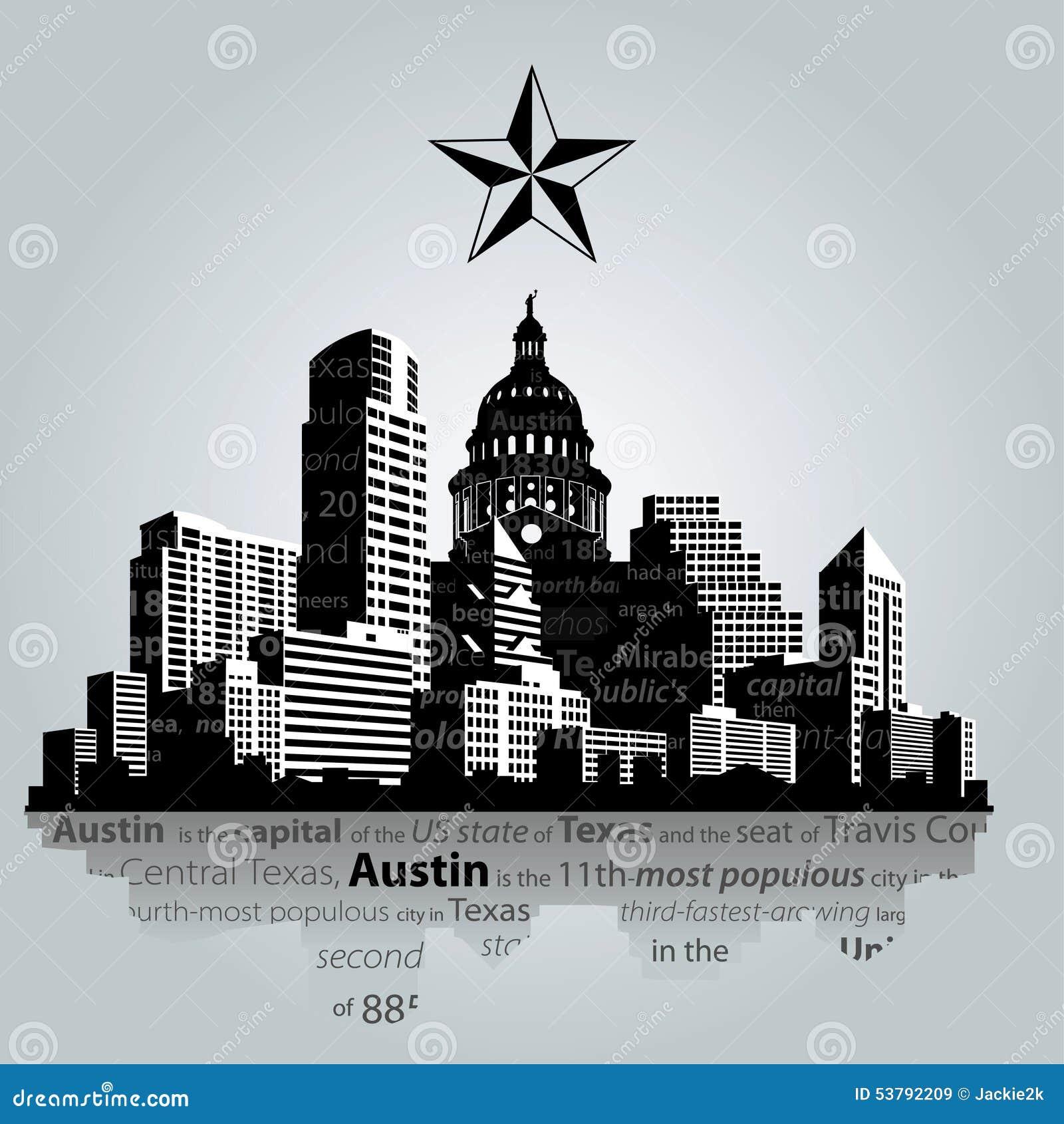 Austin sylwetka w czarny i biały