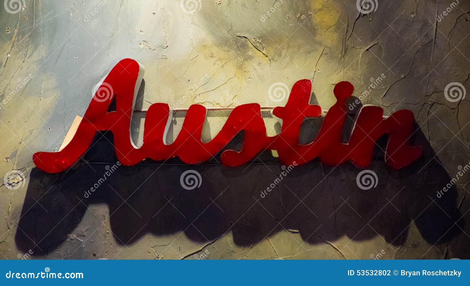 Austin Texas Metal Sign Hanging op Geweven Muur