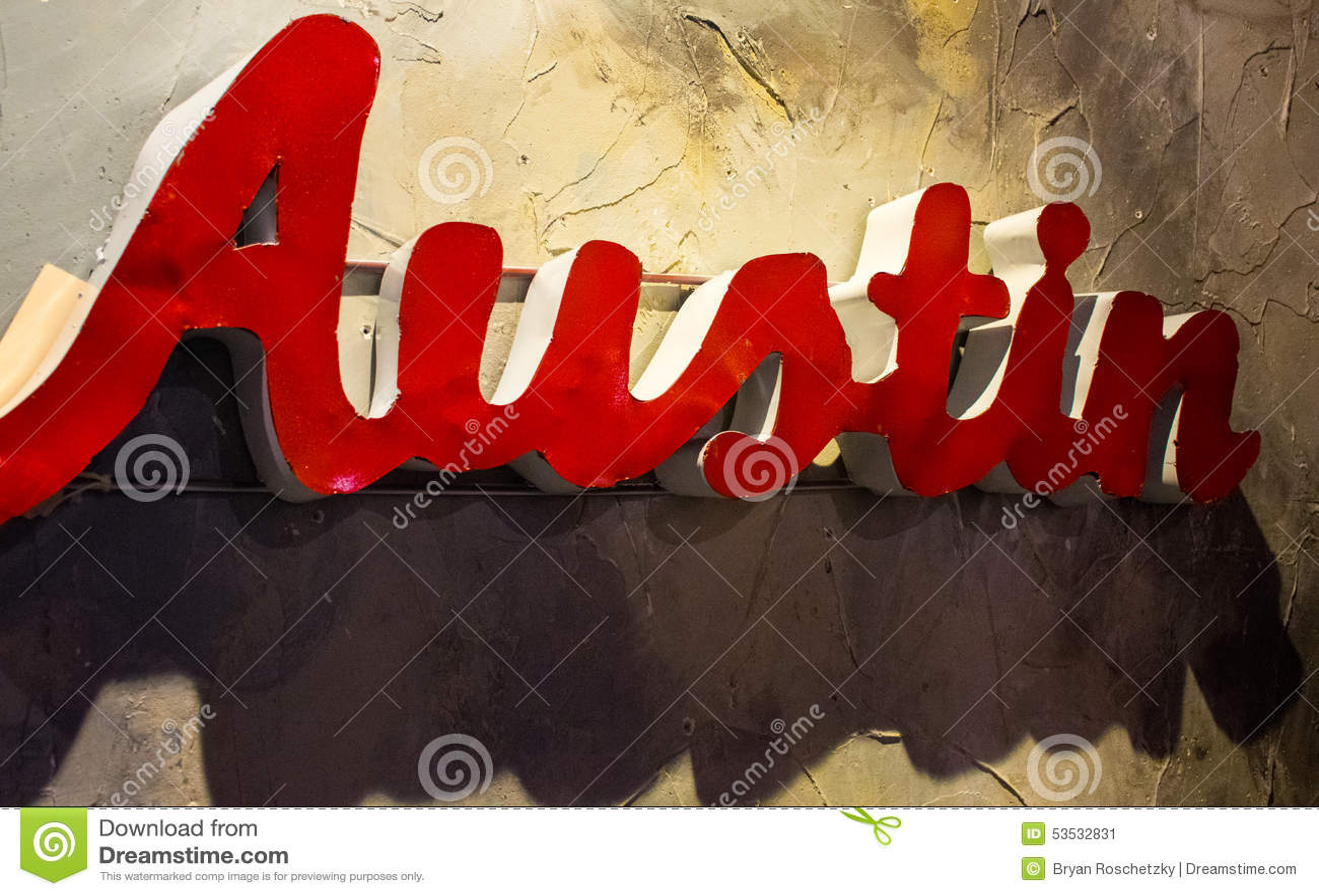 Austin Texas Metal Sign Hanging Wall-Abschluss herauf Winkel
