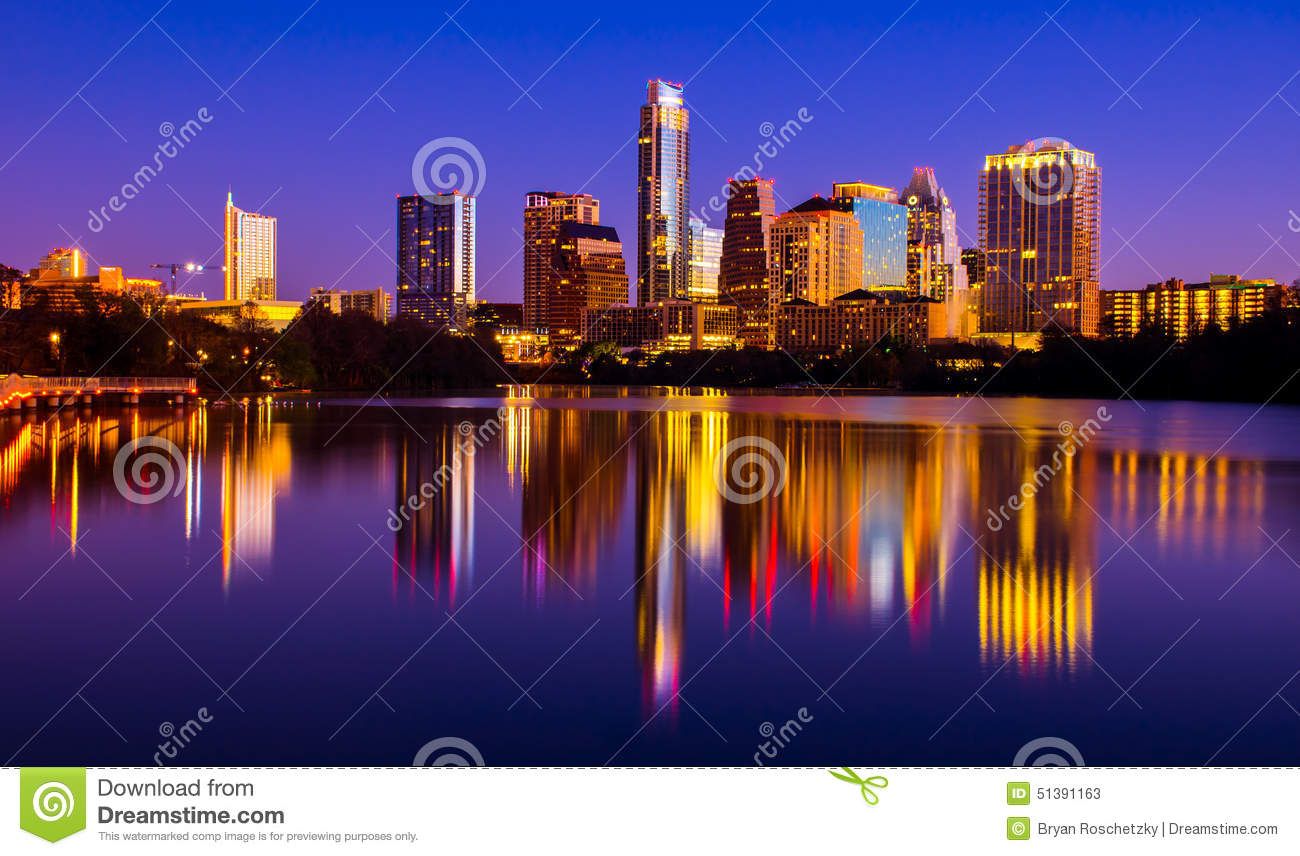 Austin Texas Skyline 2015 Riverside Pedestrian Bridge Mirror Reflection Cityscape