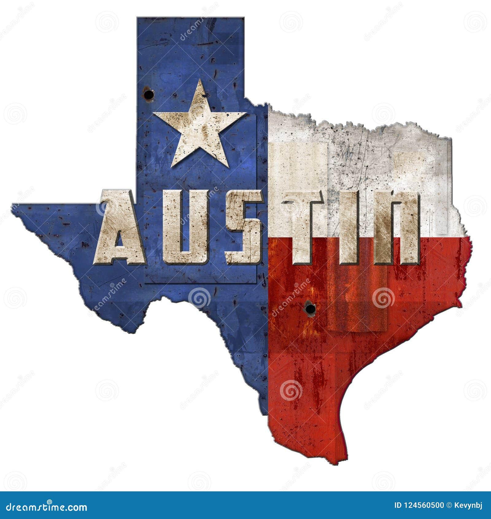 Austin TX Texas Flag Sign Grunge Metal