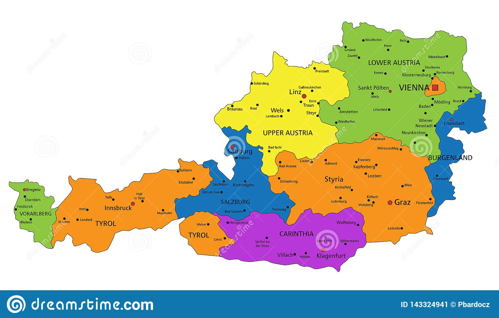 Colorful Austria Political Map With Clearly Labeled Separated