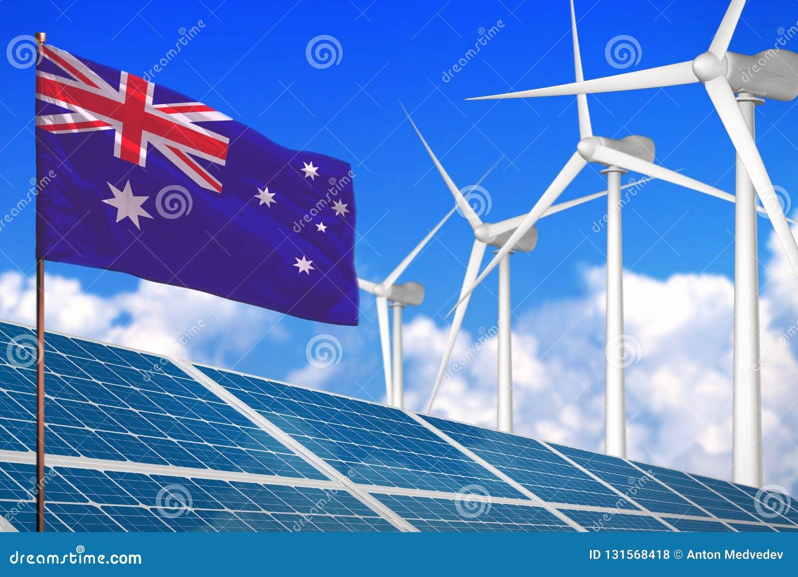 Austrália solar e energias eólicas, conceito com os moinhos de vento - energia renovável da energia renovável contra o aqueciment