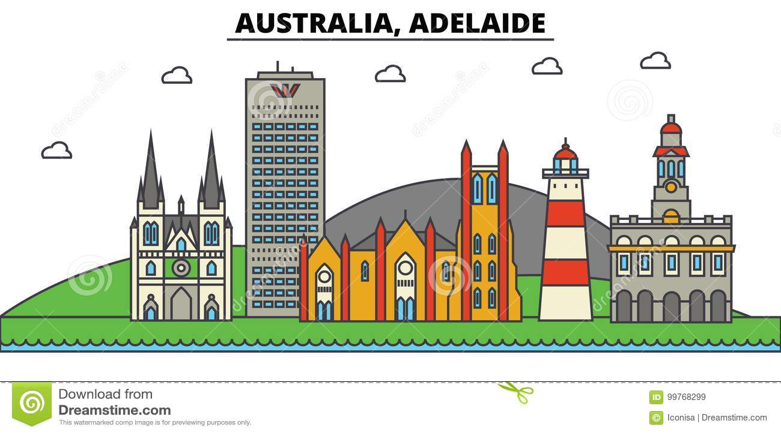 Australië, Adelaide De architectuur van de stadshorizon editable
