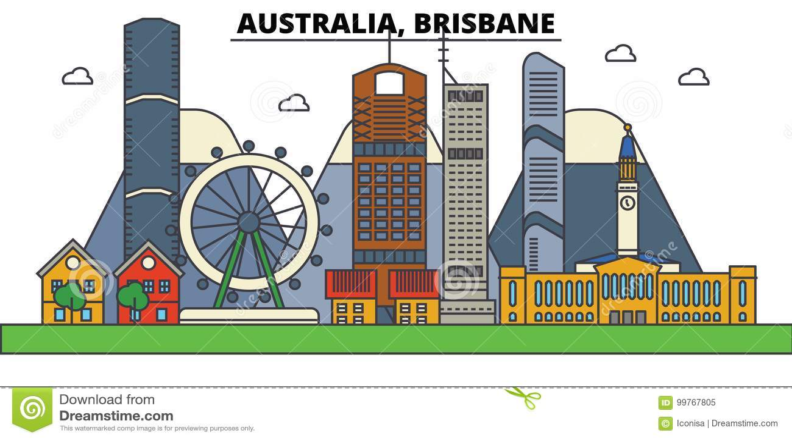 Australië, Brisbane De architectuur van de stadshorizon