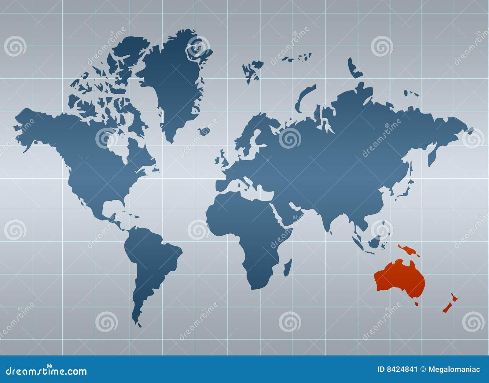 Australië op kaart van de wereld