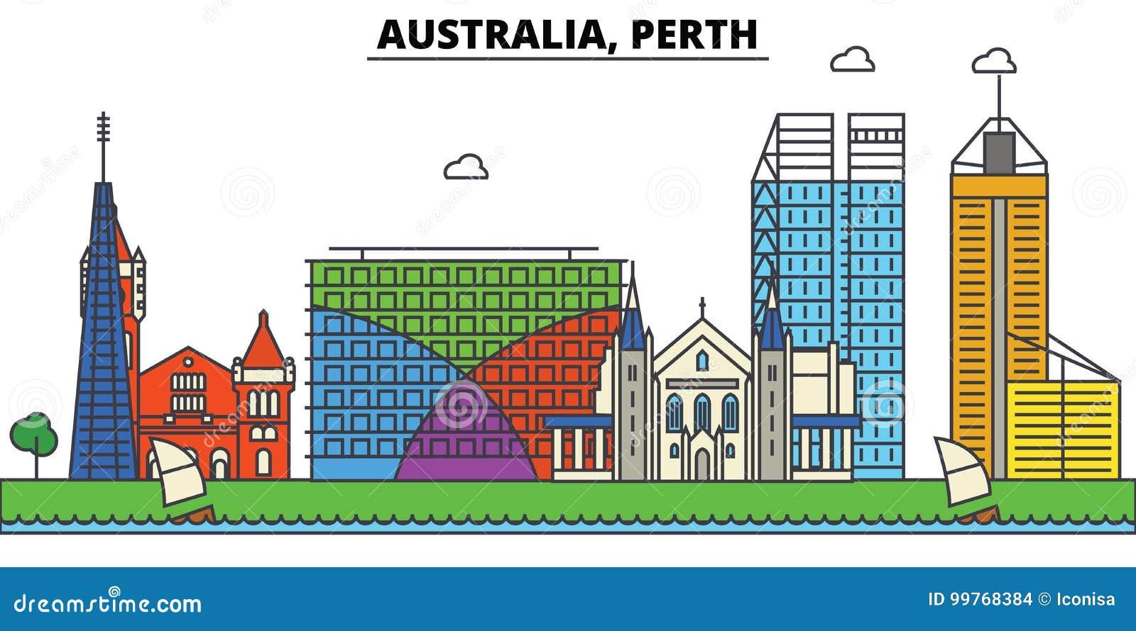 Australië, Perth De architectuur van de stadshorizon editable