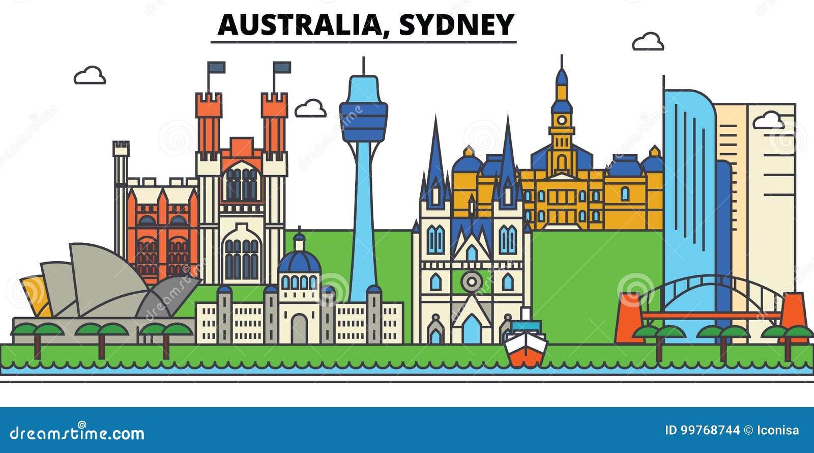Australië, Sydney De architectuur van de stadshorizon editable