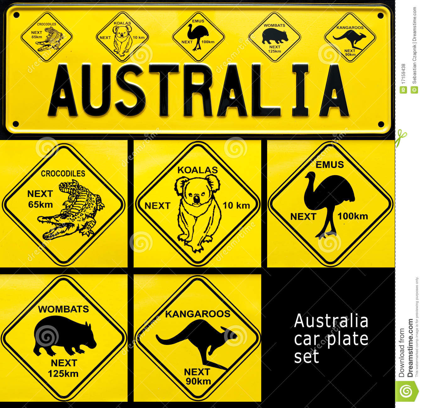 Collage of souvenir car plate with Australia word and Australian ...