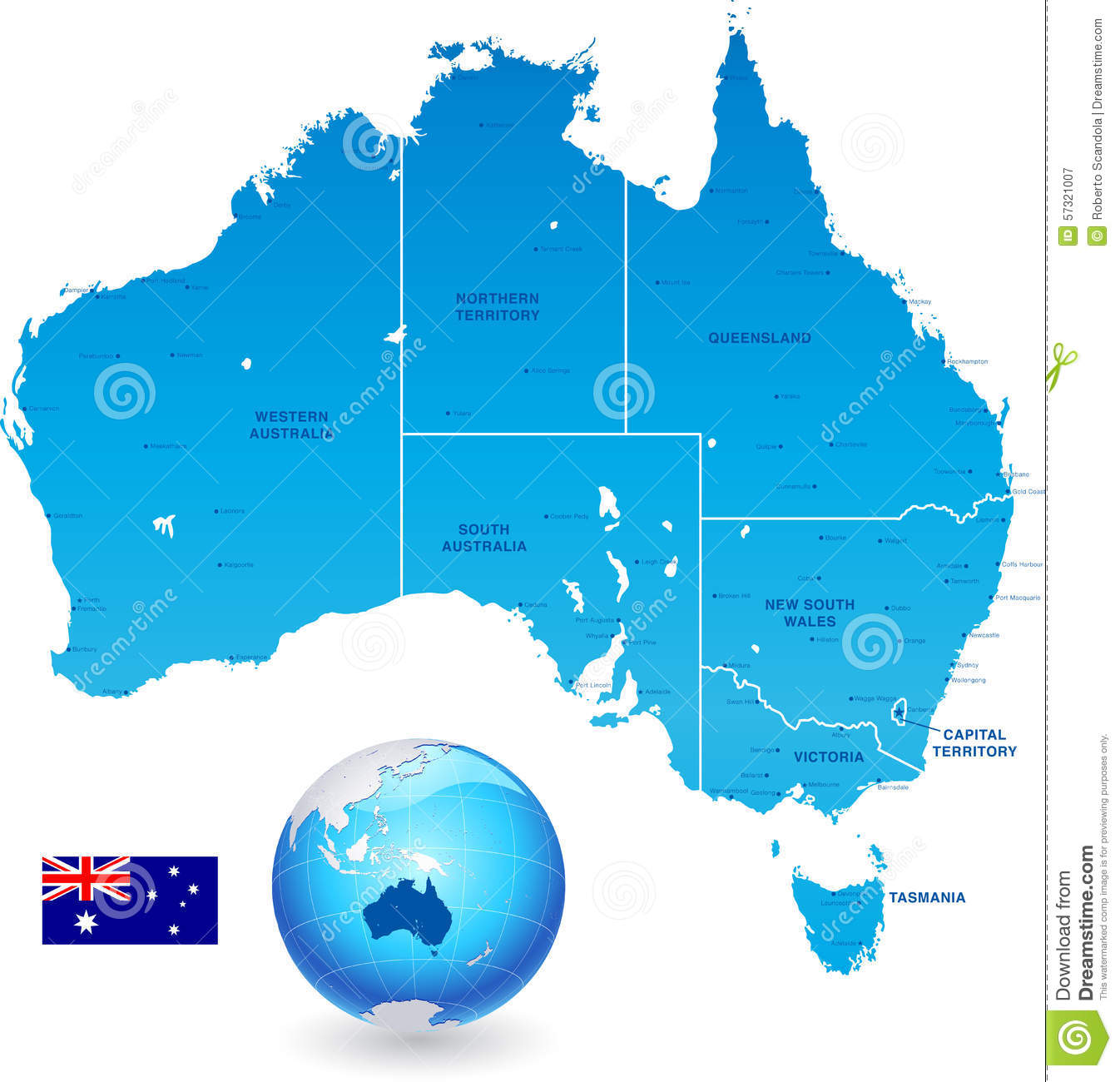 Australia Map States And Cities.Australia Administrative Map Set Stock Vector Illustration Of