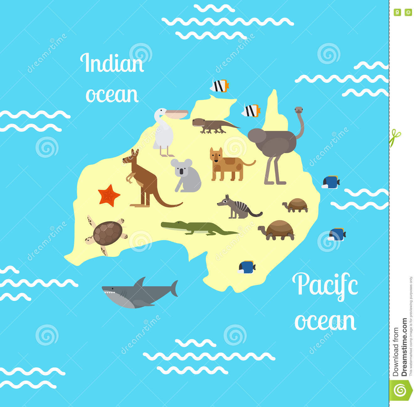 Animals World Map Australia Stock Vector Image - Australia in world map