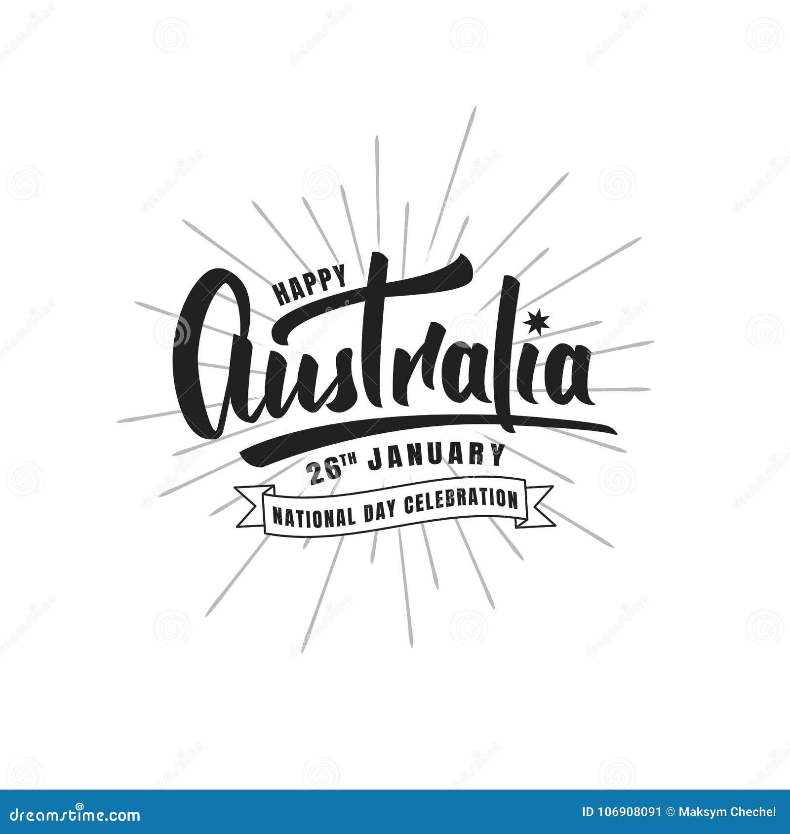 Australia balonowe dzień flaga prezenta ikony ustawiać Typograficzny literowanie logo dla Australia święta państwowego
