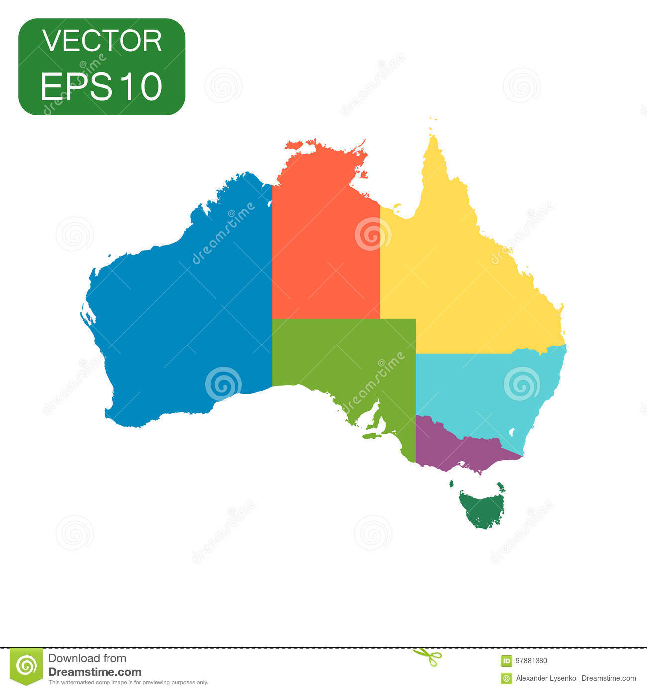 Australia Color Map With Regions Icon. Business Cartography Concept ...