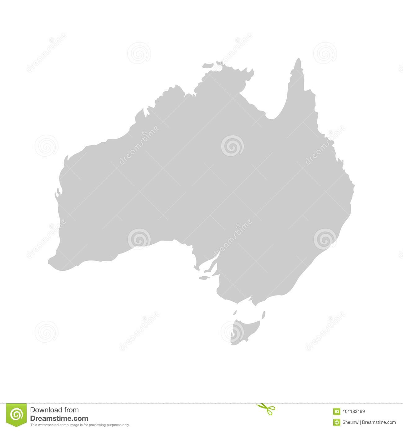 australia continent gray vector template stock vector