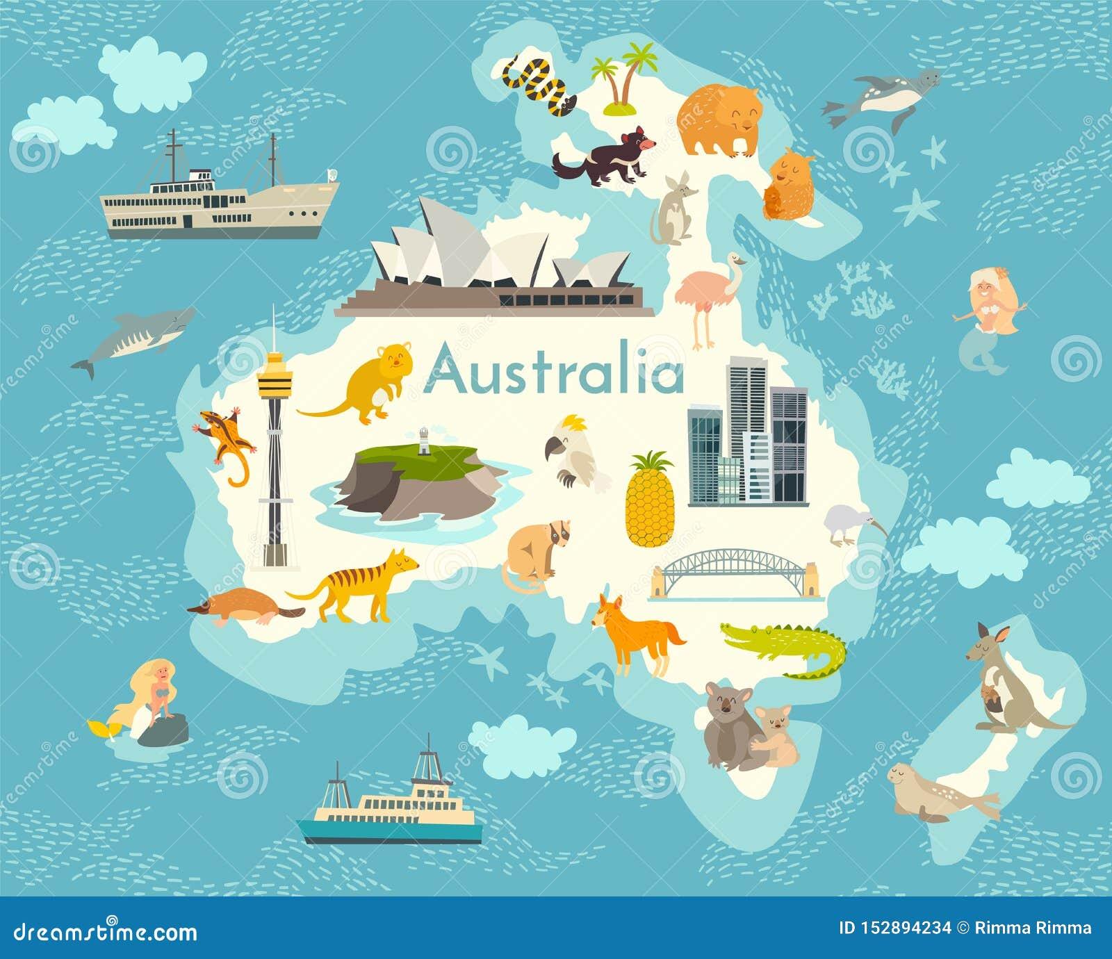 Australia Map Landmarks.Australia Continent World Vector Map With Landmarks Cartoon