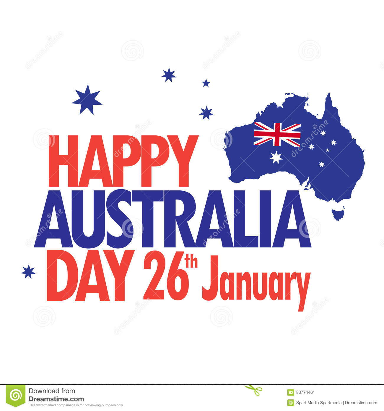 Map Of Australia 26th Parallel.Australia Day Stock Vector Illustration Of Advertising 83774461