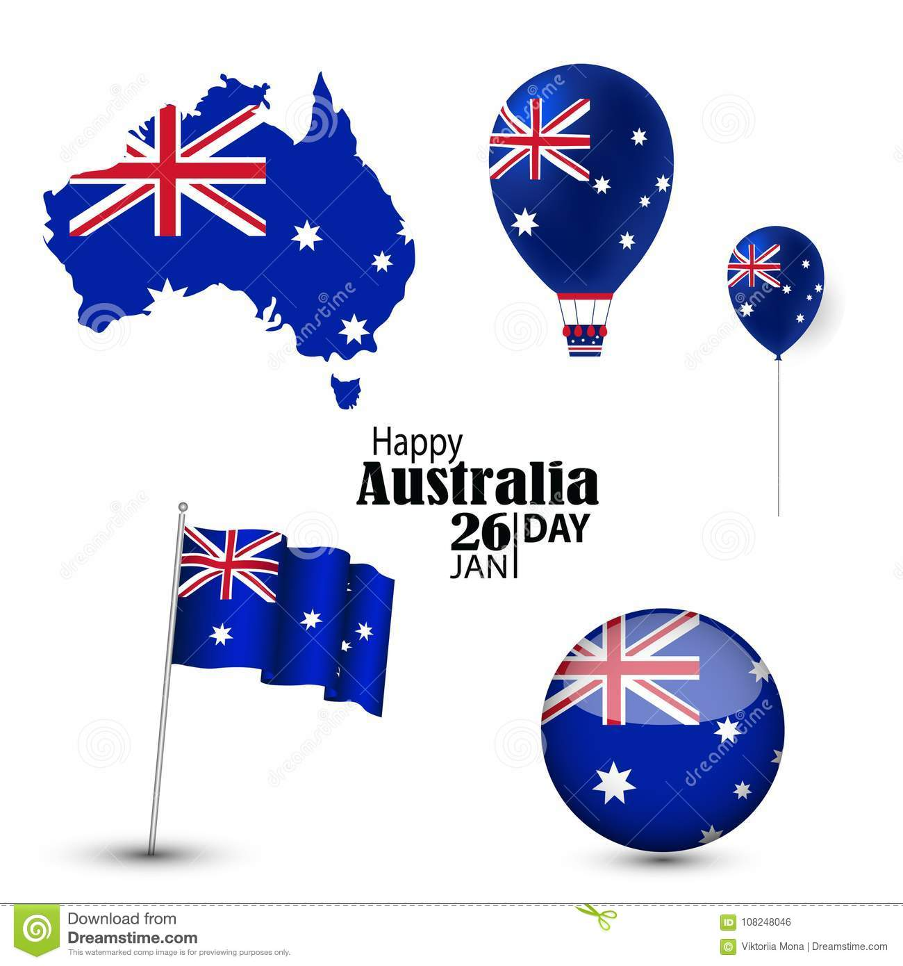 Australia National Day With National Symbols Stock Vector