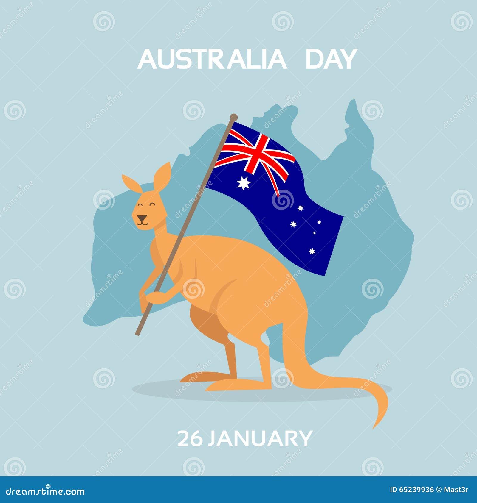 Australia Day Kangaroo Flag National Country Map Stock Vector - Australia map kangaroo