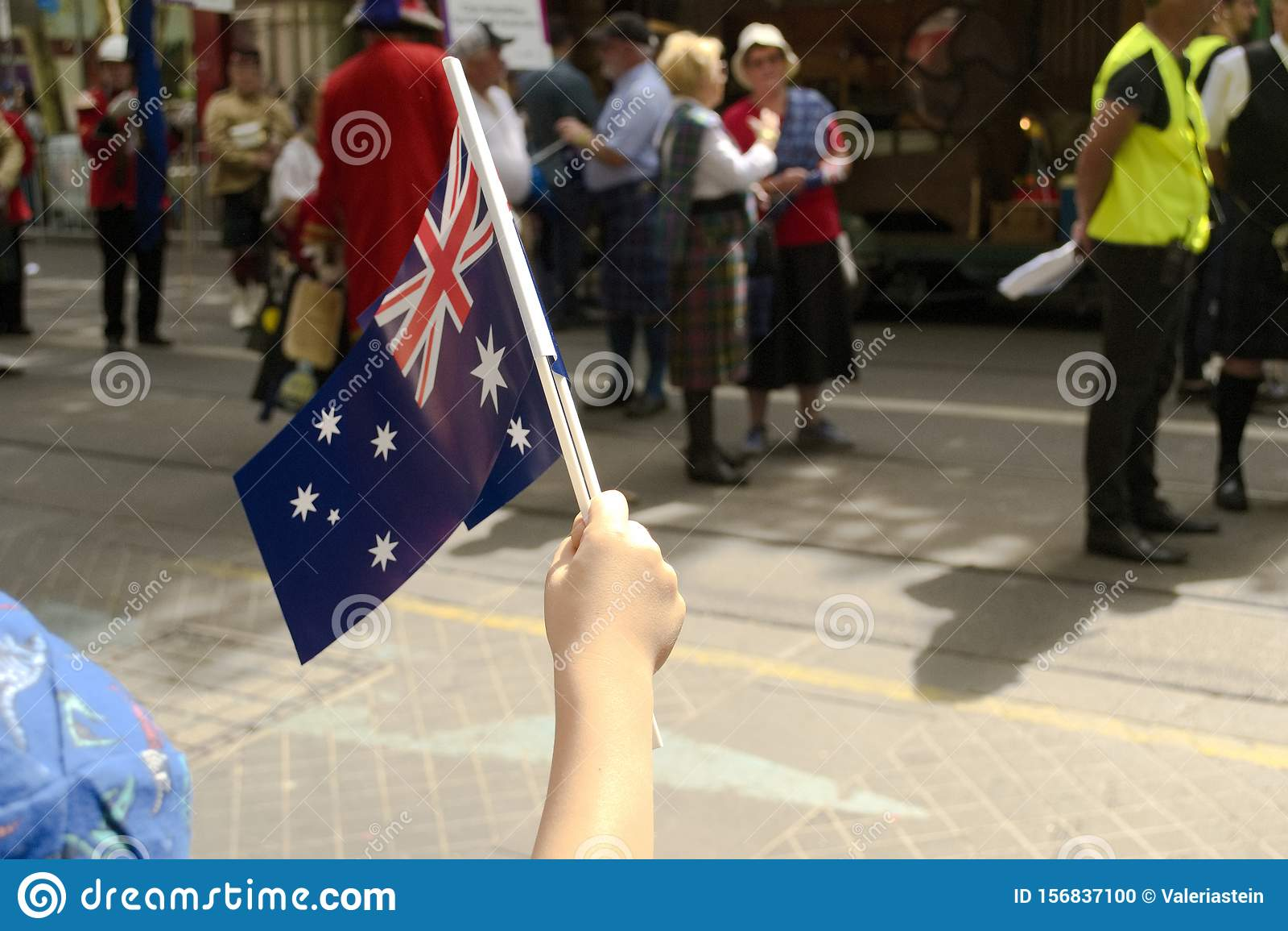 Australia Day in Melbourne - January 26, 2019. Child waving Australian Flag