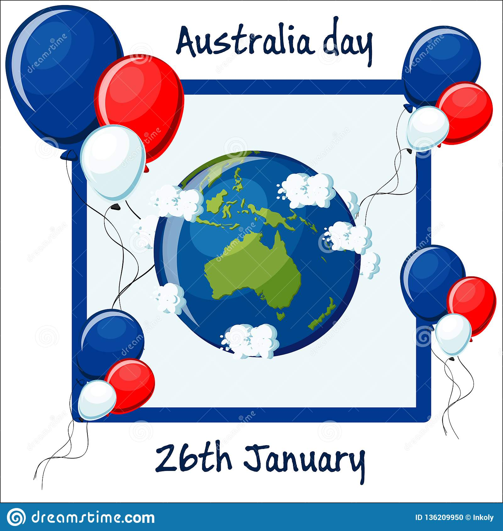 Australia Map Globe.Australia Day 26th January Greeting Card With Balloons Australia