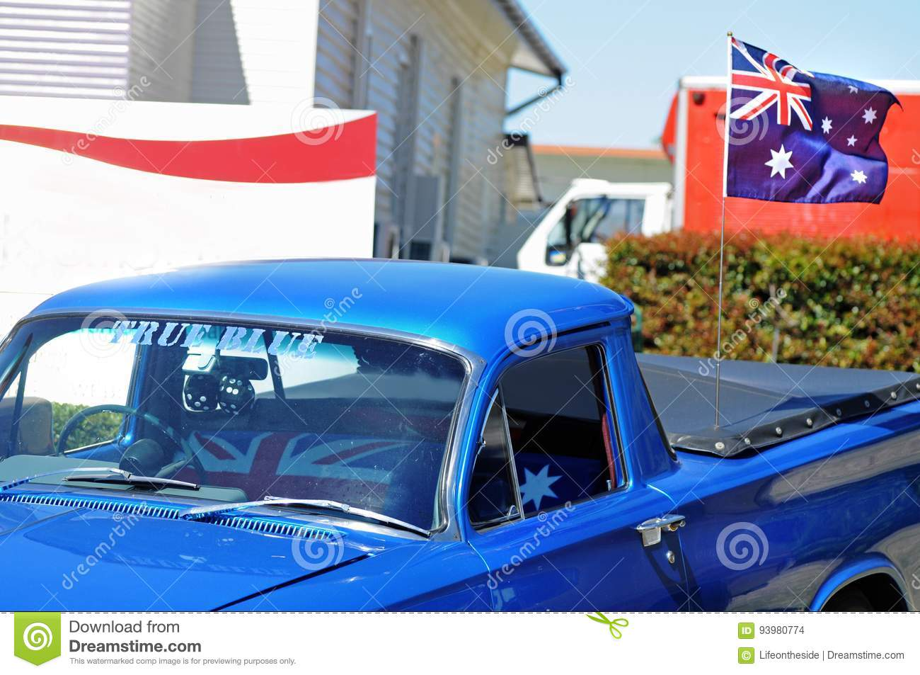 ... Australian who has painted his car blue called it True Blue  which means true friend in Australian slang flying the Aussie flag fixed onto the canopy ... & Australia Day True Blue Car Flying Flag Canopy Of Ute Stock Photo ...