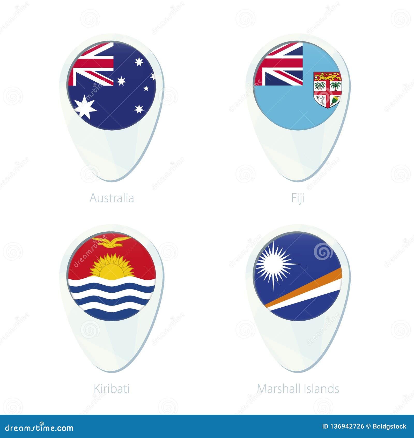 Australia, Fiji, Kiribati, Marshall Islands Flag Location Map Pin ...