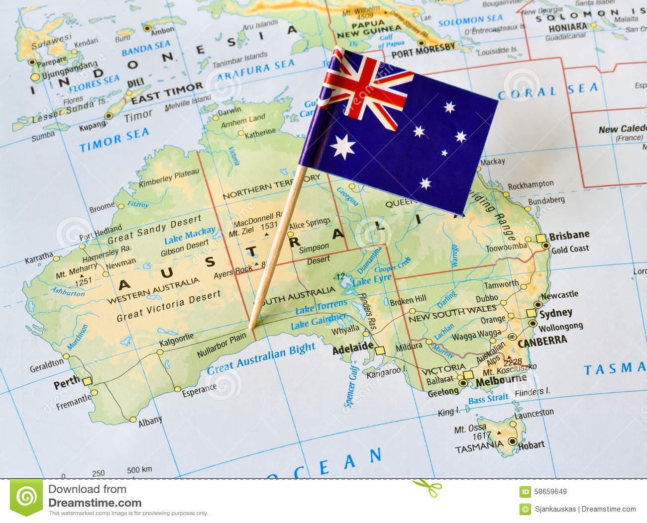 Map Showing Australia.Australia Map Flag Pin Stock Image Image Of Detailed 58659649