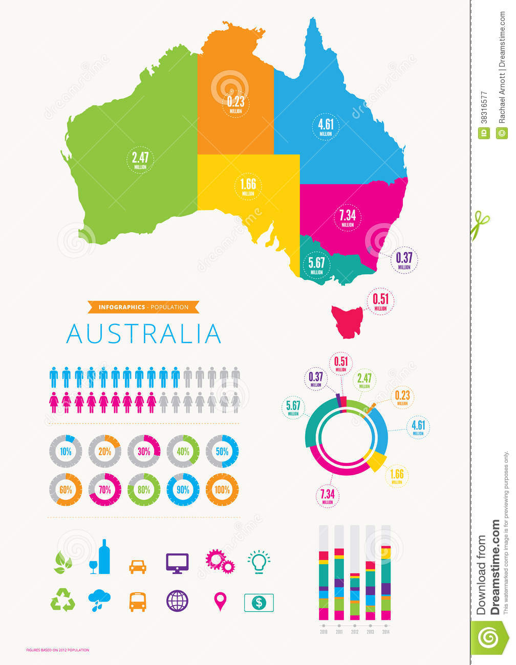 Australia Infographic With Icons Royalty Free Stock Photography - Australia map infographic