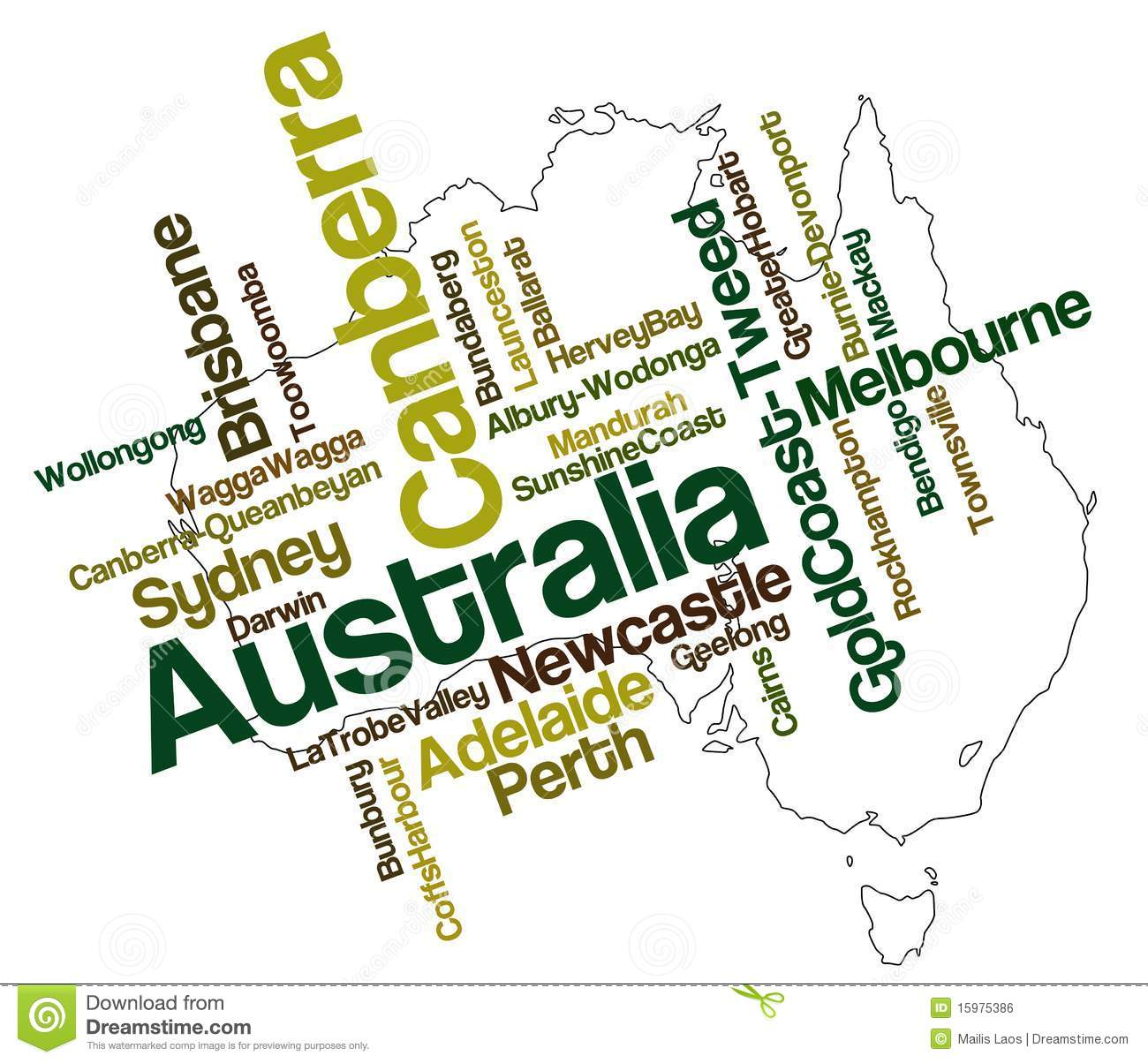 Australia Map And Cities Stock Vector Illustration Of Greater
