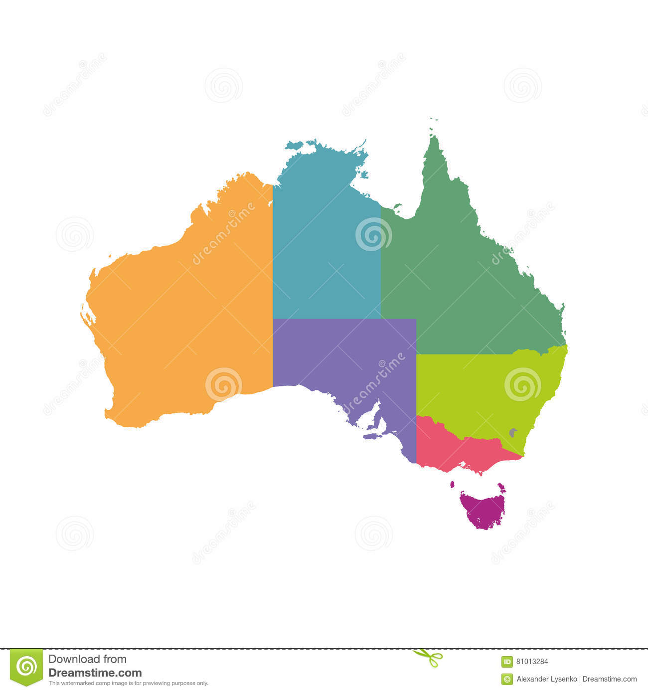 Map Australia Perth.Australia Map Color With Regions Stock Vector Illustration Of