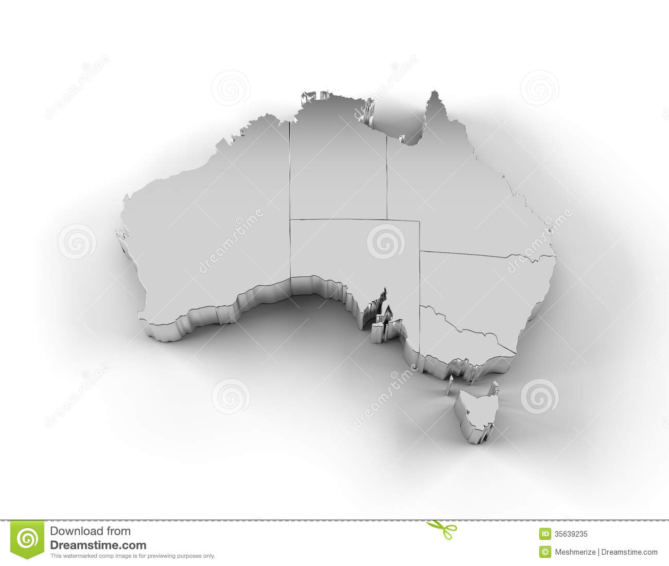 Australia Map 3D Silver With States And Clipping Path Royalty Free – Map of the States of Australia