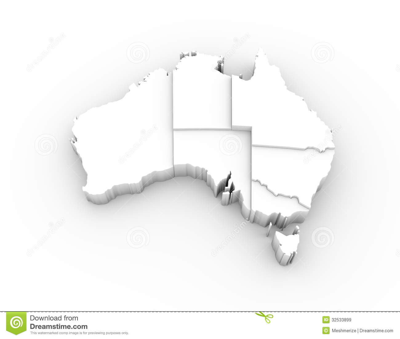 Free 3d Map Of Australia.Australia Map 3d White With States Stepwise And Clipping Path Stock