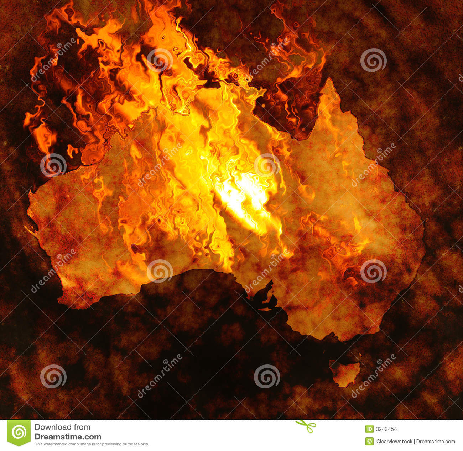 Australia map on fire stock vector. Illustration of design - 3243454