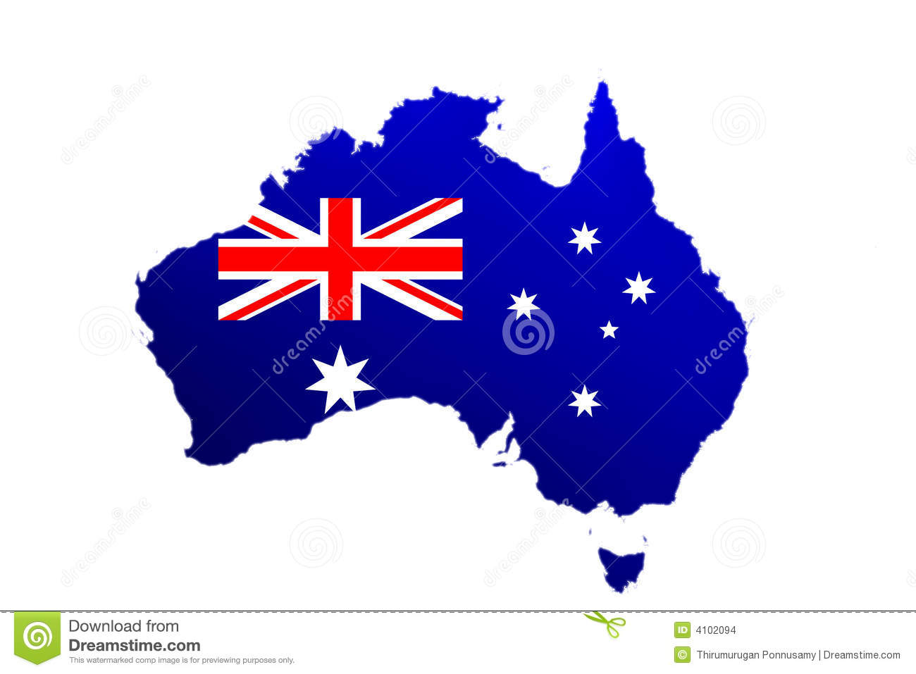 Illustrated map of Australia filled with flag, isolated on white ...