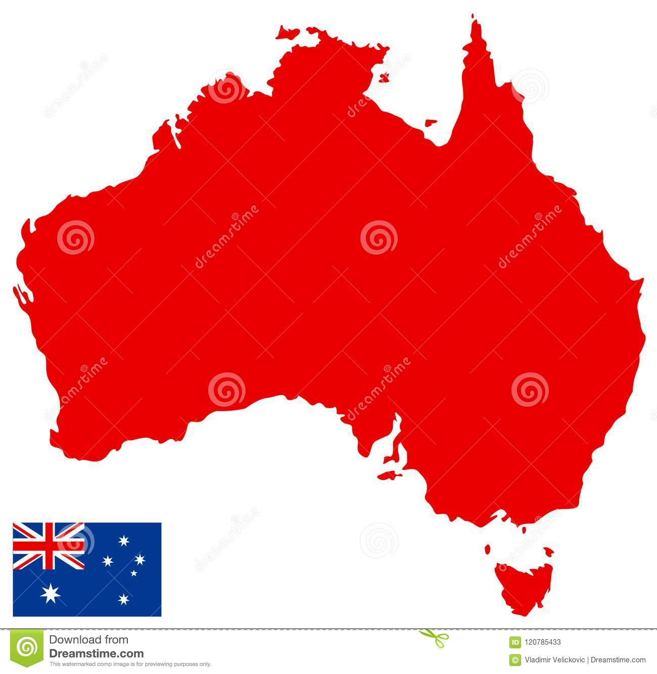 Australia Map And Flag - Country Of The Australian Continent Stock ...