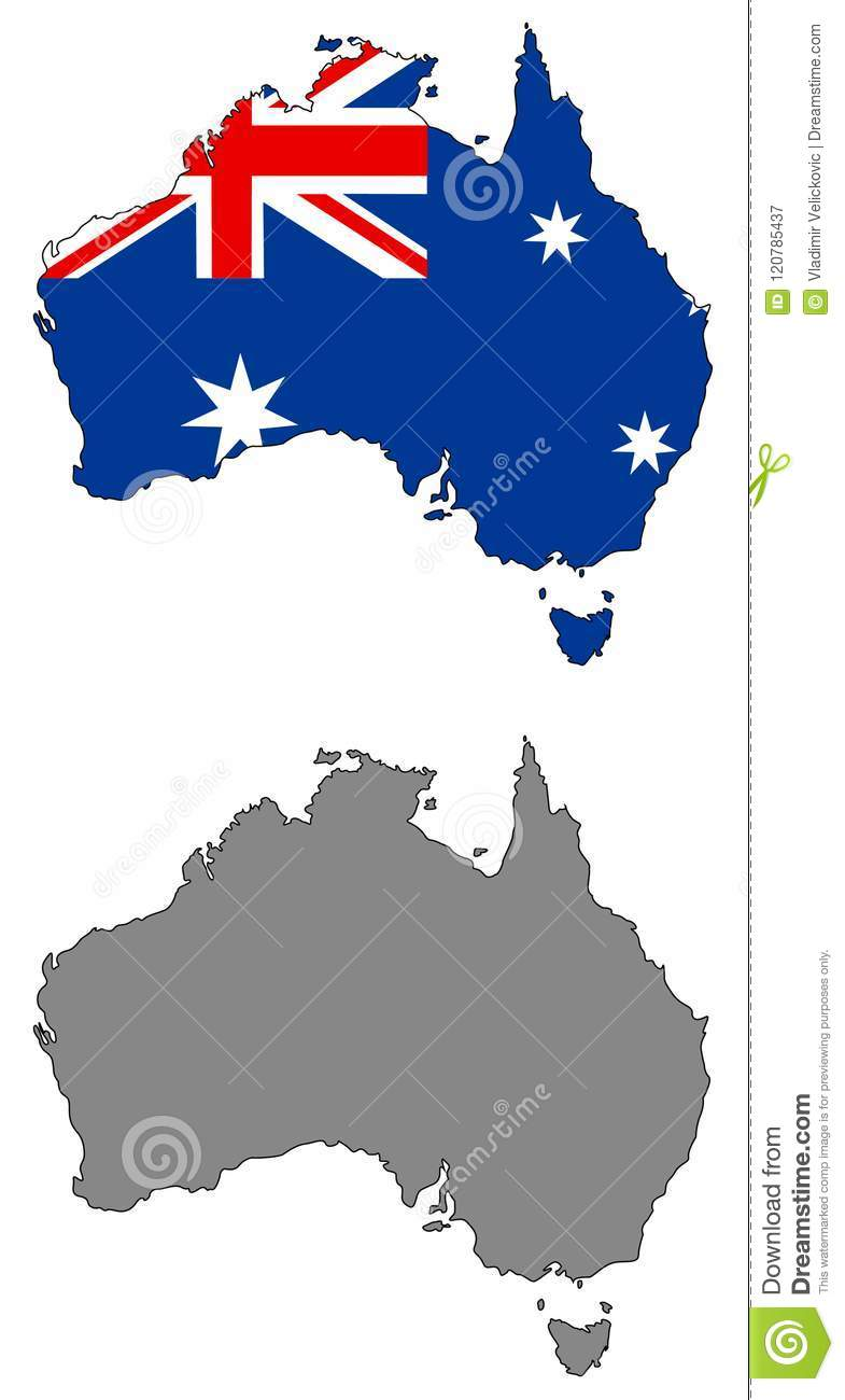 Australia Map With Flag.Australia Map And Flag Country Of The Australian Continent Stock