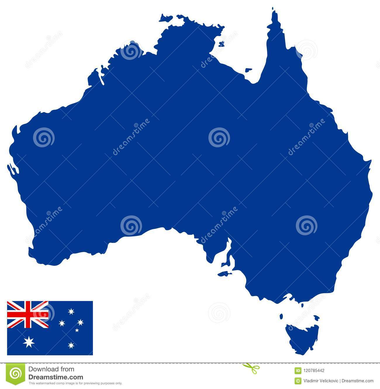 Australia Map And Flag.Australia Map And Flag Country Of The Australian Continent Stock