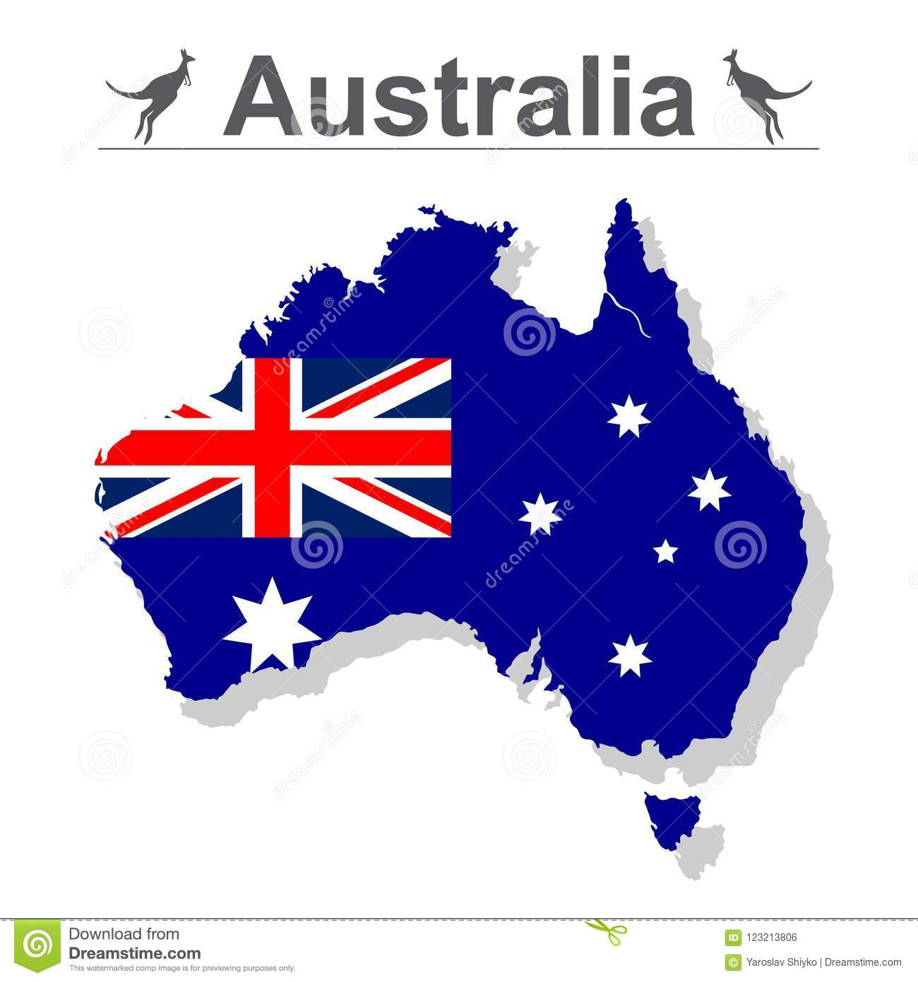 Australia Map With Flag.Australia Map With Flag Isolated Against White Background Vector