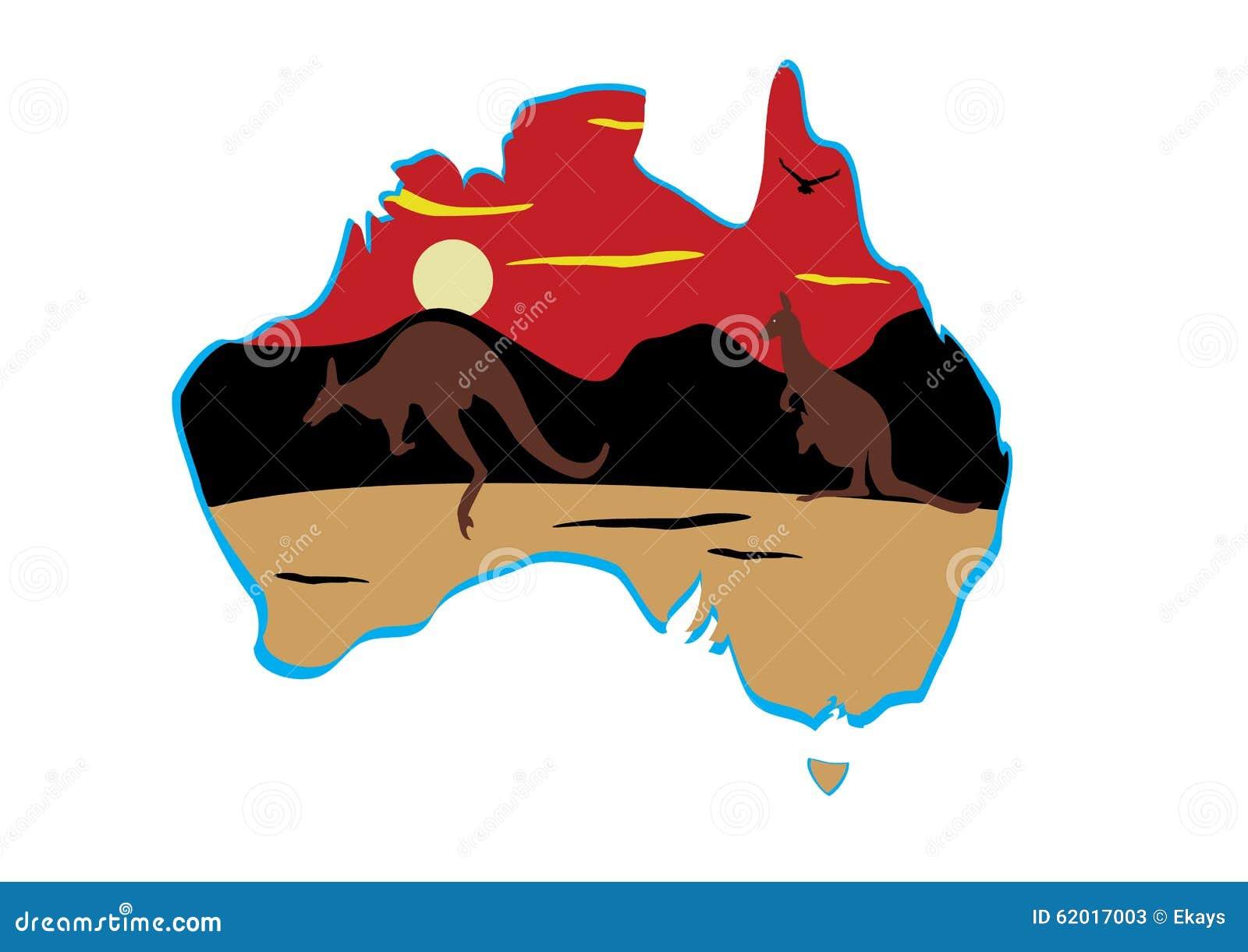 Australia Map And Hopping Kangaroo Stock Illustration Image - Australia map kangaroo