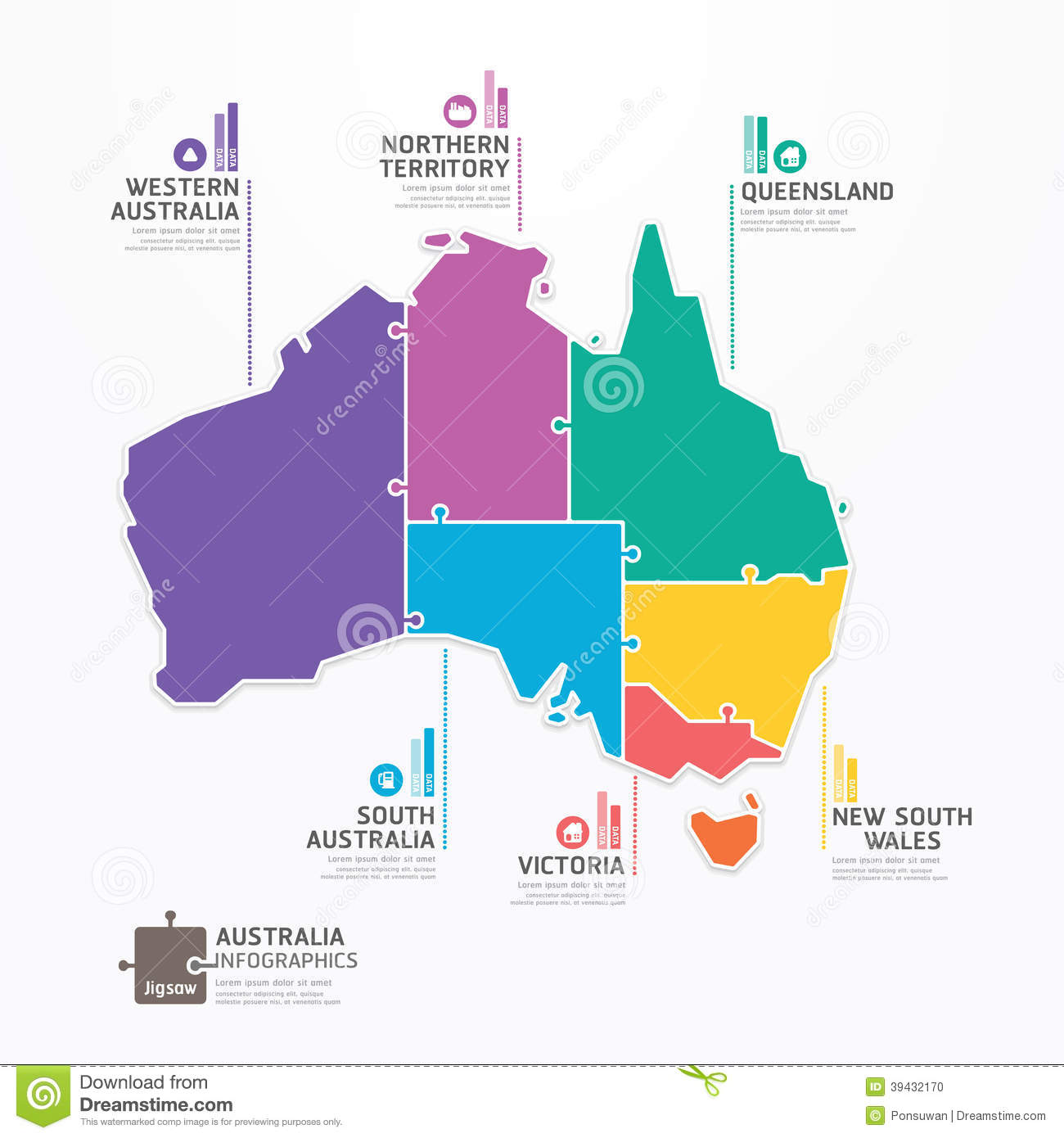 Australia Map Infographic Template Jigsaw Concept Banner Vector - Australia map infographic