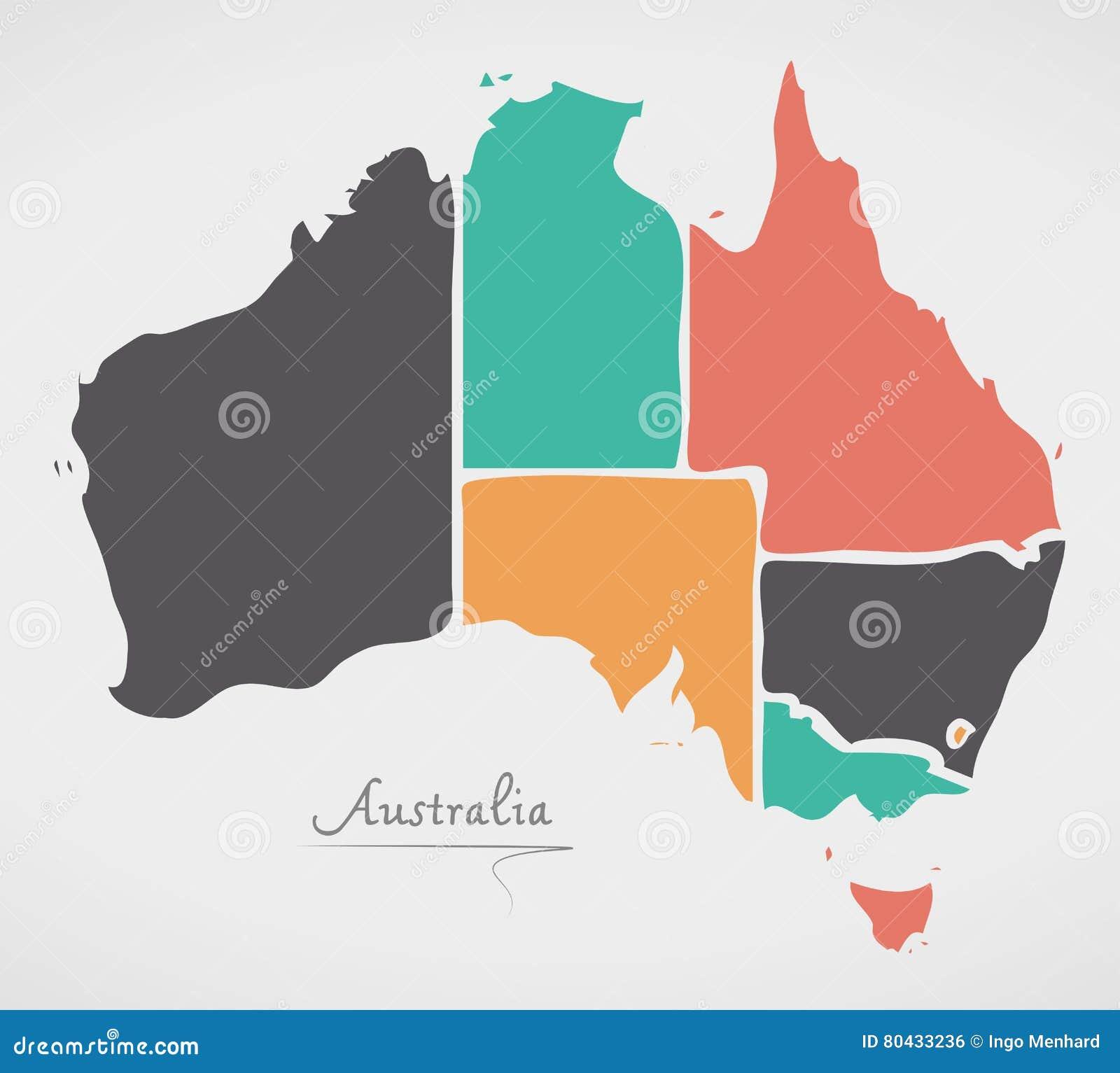 Australia Map Shape.Australia Map With Modern Round Shapes Stock Illustration