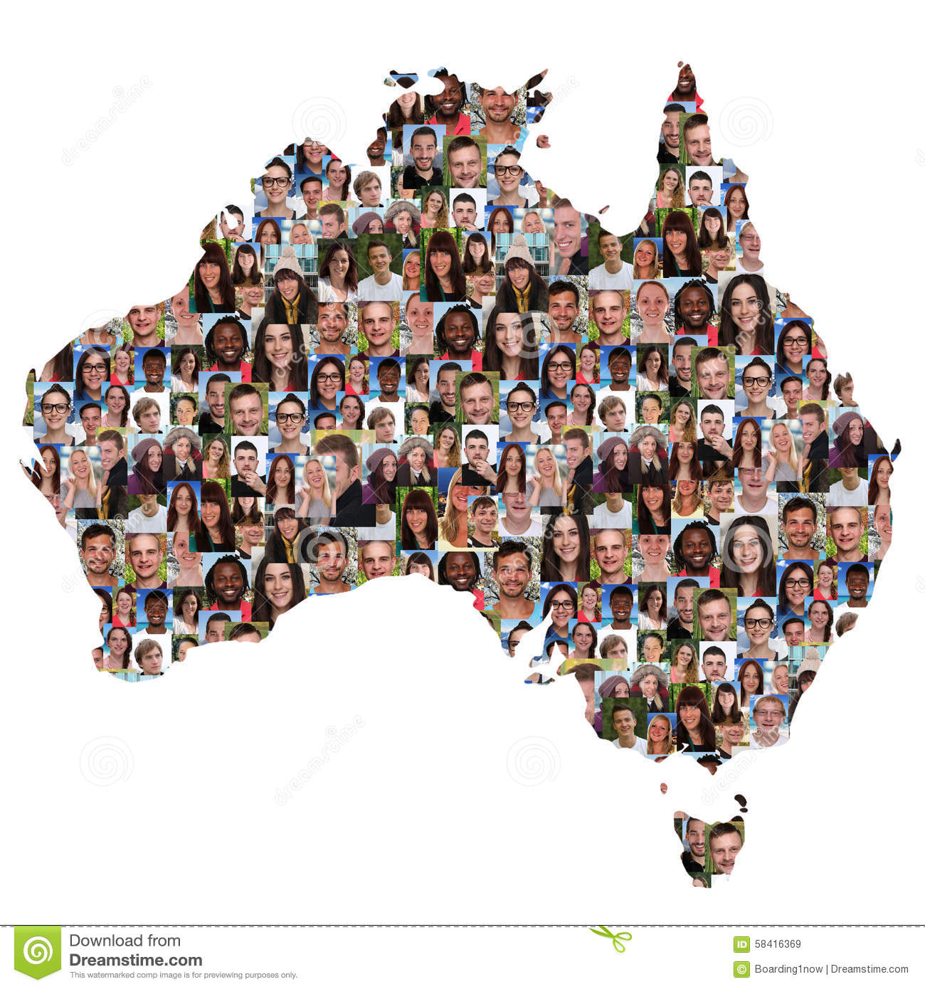 australia map multicultural group of young people integration di